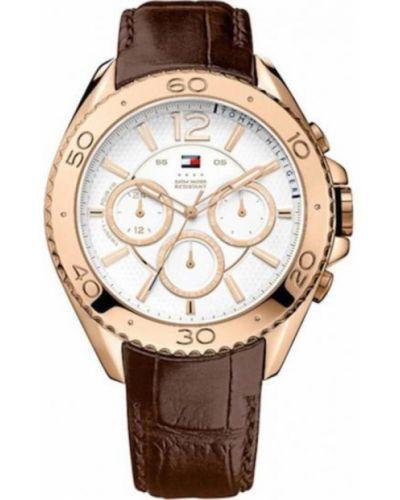 Różowy złoty zegarek na skórzanym pasku kwarc Tommy Hilfiger