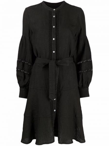 Черное платье макси с воротником-стойка на пуговицах 120% Lino