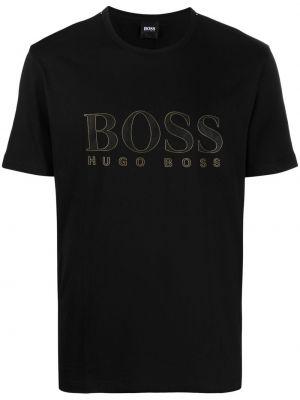 Прямая черная футболка с вырезом Boss Hugo Boss