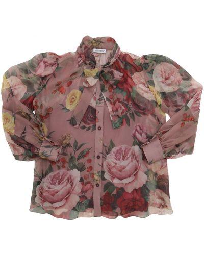 Różowa koszula z jedwabiu z printem Dolce And Gabbana
