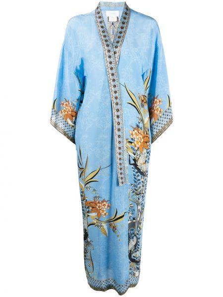 Niebieski płaszcz z jedwabiu z długimi rękawami Camilla