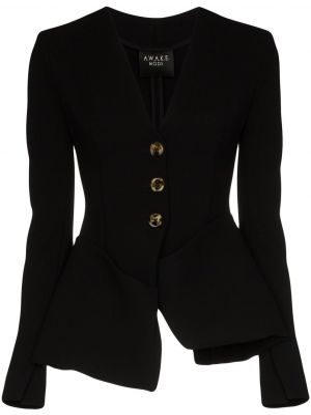 Черный пиджак с карманами с баской A.w.a.k.e. Mode