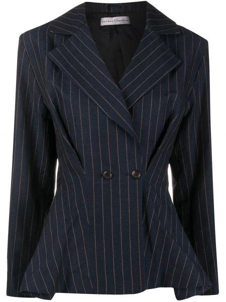 Расклешенная приталенная тонкая синяя куртка Palmer / Harding