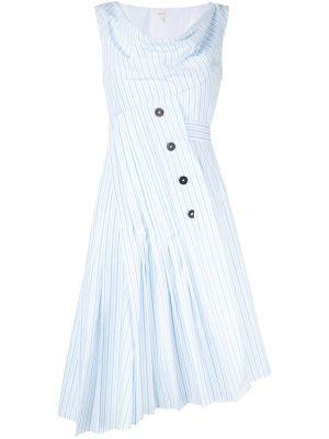 Niebieska sukienka rozkloszowana w paski Delpozo