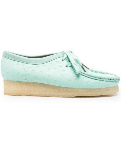 Зеленые кожаные лоферы на шнурках Clarks Originals
