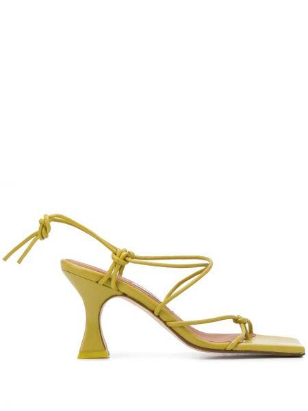 Открытые зеленые кожаные сандалии на каблуке Miista