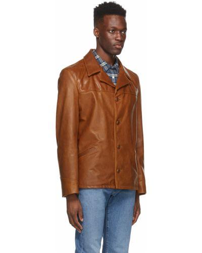 Czarny długi płaszcz w paski skórzany Schott
