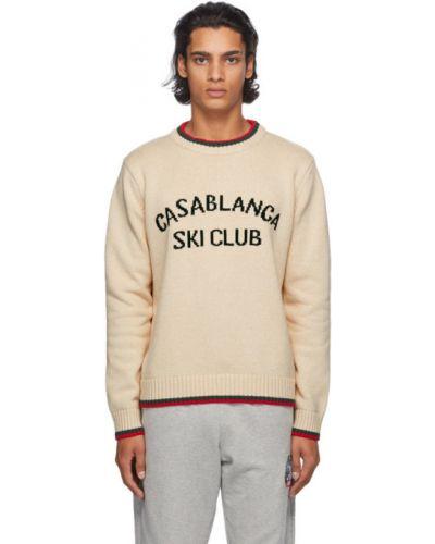 Biały sweter z paskami z kołnierzem z długimi rękawami Casablanca