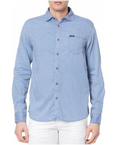 Niebieska koszula jeansowa z długimi rękawami zapinane na guziki Guess
