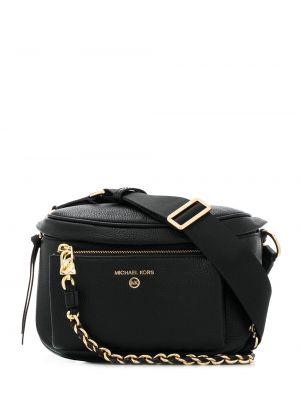 Черная кожаная сумка на плечо на молнии Michael Michael Kors