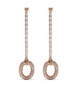 Розовые золотые серьги с подвесками с бриллиантом Carolina Bucci