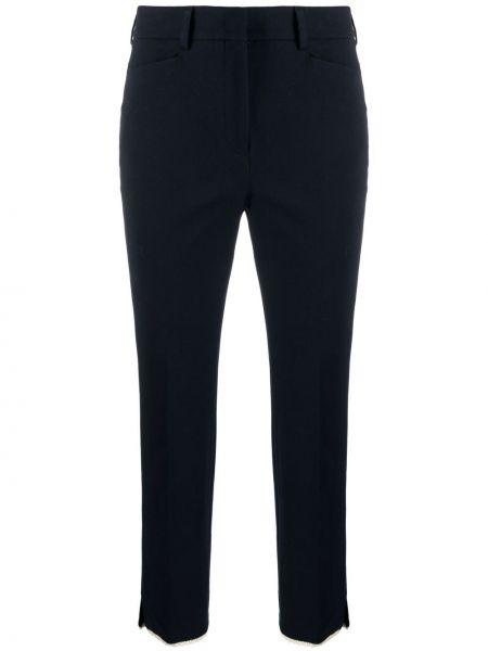 Хлопковые синие укороченные брюки с карманами Incotex
