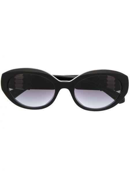 Черные солнцезащитные очки круглые Bvlgari