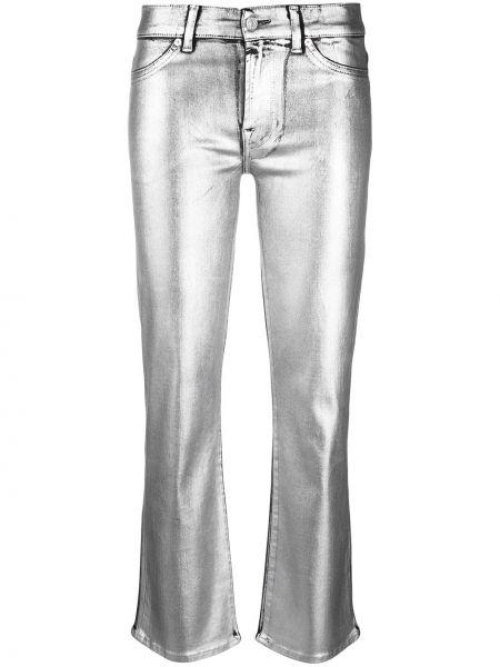 Расклешенные серые брюки на молнии 7 For All Mankind