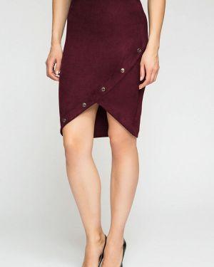 Кожаная юбка бордовый осенняя Kotis Couture
