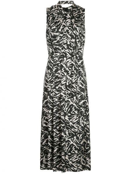 Черное платье с V-образным вырезом на молнии без рукавов Jason Wu