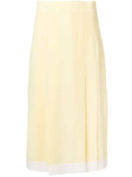 Желтая юбка миди с разрезом со складками в рубчик Cashmere In Love