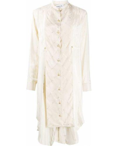 С рукавами шелковое платье миди с вырезом Lanvin