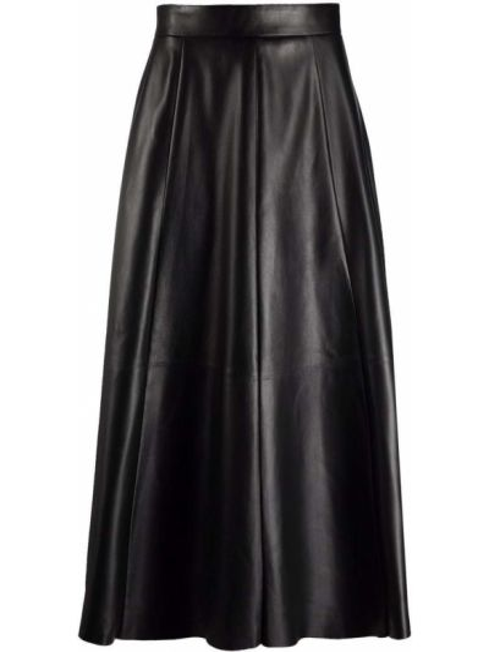 Czarna spódnica skórzana Ralph Lauren Collection