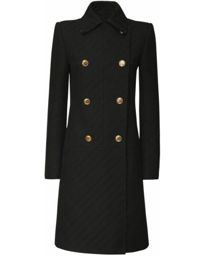 Черное пальто двубортное с карманами Givenchy