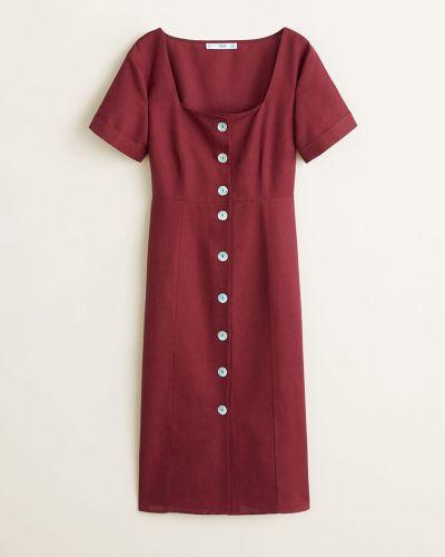 Платье миди с поясом однотонное Mango