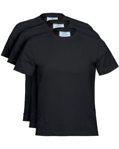 Черная хлопковая футболка Prada