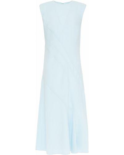 Ażurowa niebieska sukienka midi rozkloszowana Cedric Charlier