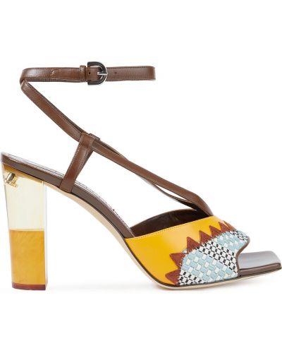 Żółte sandały skorzane z haftem Emilio Pucci