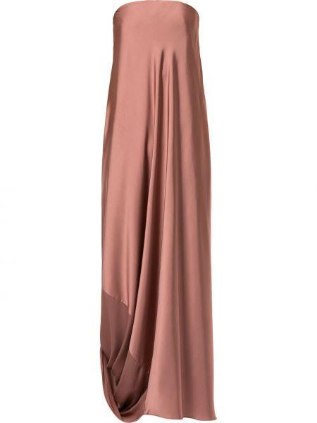 Розовое приталенное вечернее платье с драпировкой каскадное Bianca Spender