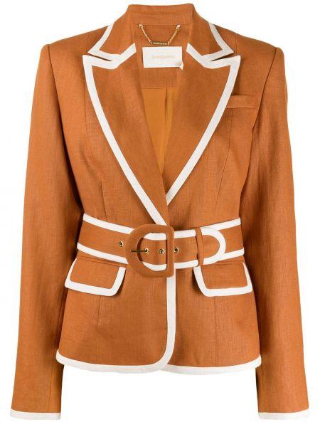 Шелковый коричневый пиджак с карманами Zimmermann