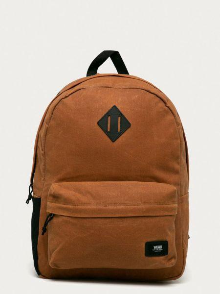 Хлопковый коричневый рюкзак с карманами Vans