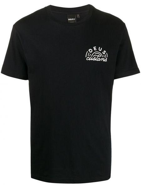 Прямая хлопковая черная футболка с круглым вырезом Deus Ex Machina