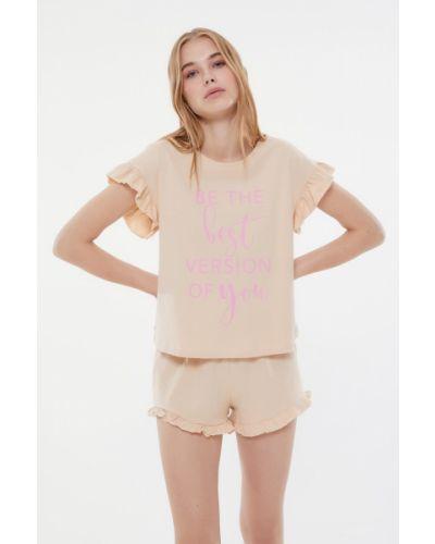 Piżama bawełniana - pomarańczowa Trendyol