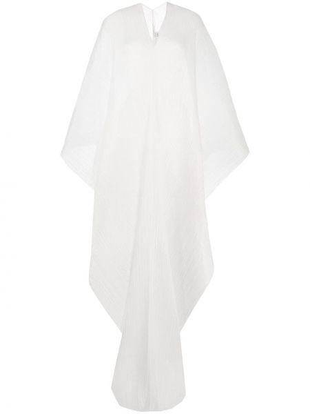 Z rękawami biały pofałdowany tunika z długimi rękawami z draperią Pleats Please Issey Miyake
