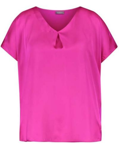 Różowa koszulka z dekoltem w serek Samoon