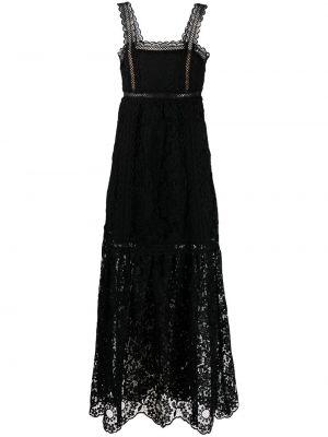 Кружевное черное платье макси без рукавов Self-portrait