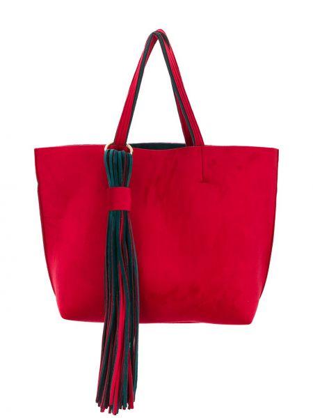 Красная сумка-тоут с бахромой Alila