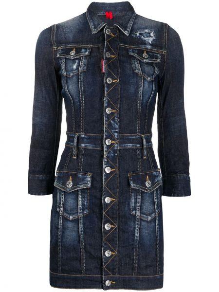 Прямое синее платье мини с поясом Dsquared2