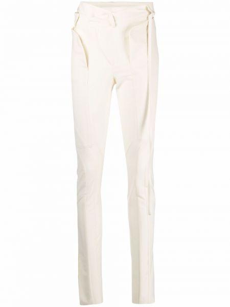 Białe spodnie rurki z paskiem wełniane Ottolinger