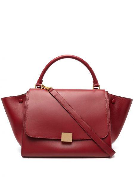 Кожаная красная сумка-тоут на молнии с карманами Céline Pre-owned