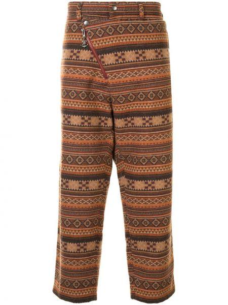 Свободные коричневые брюки свободного кроя на молнии Yohji Yamamoto Pre-owned