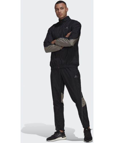Костюмный черный спортивный костюм со вставками Adidas