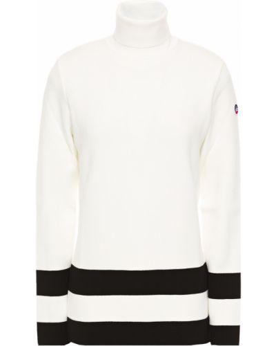 Biały sweter w paski z wiskozy Fusalp