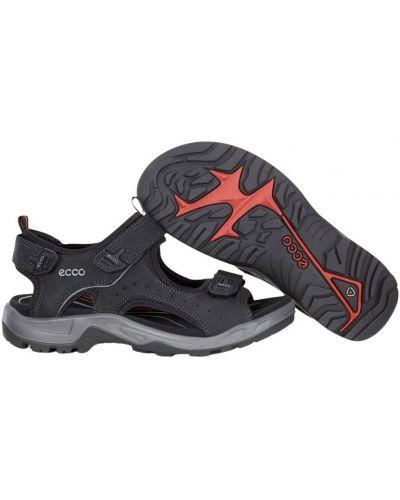 Gumowe czarne sandały sportowe na niskim obcasie Ecco