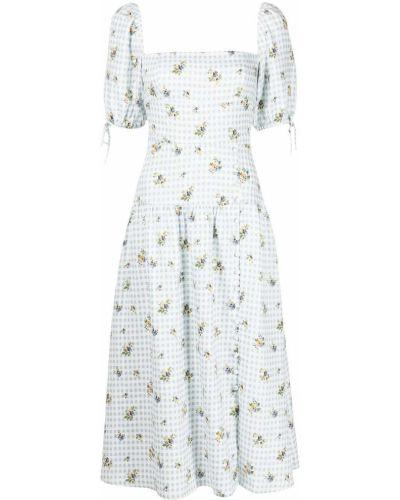 Платье миди в цветочный принт - синее Reformation