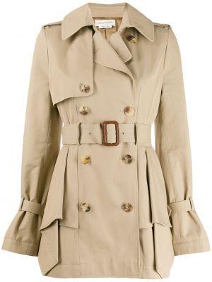 С рукавами пальто с лацканами из вискозы Alexander Mcqueen