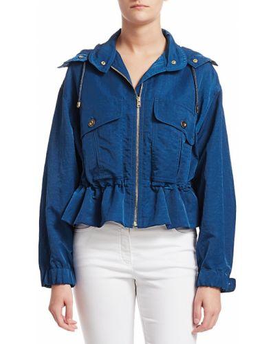 Синяя длинная куртка с капюшоном с длинными рукавами Escada