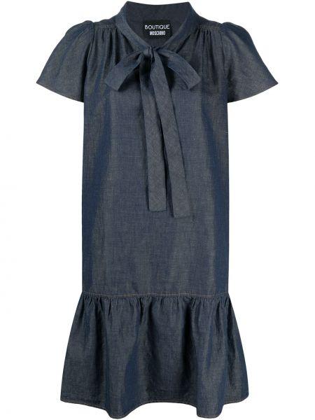 С рукавами синее платье мини с бантом Boutique Moschino