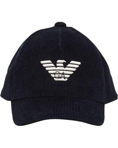 Aksamit z paskiem kapelusz z haftem Emporio Armani