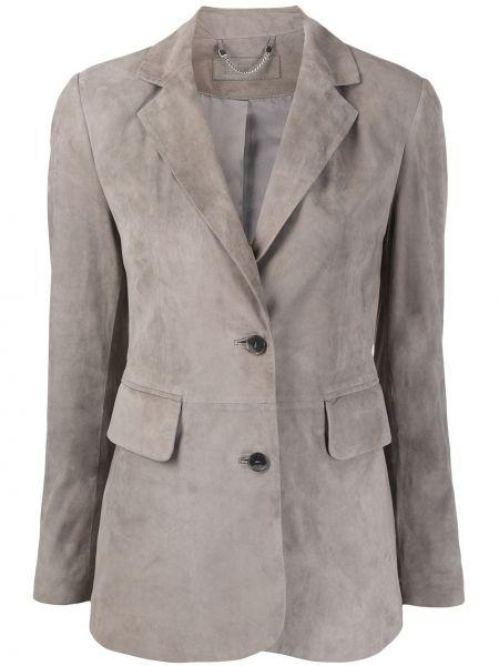 Однобортный серый пиджак с карманами Desa 1972
